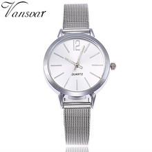 Women Stainless Steel Lady Bracelet Watch vansvar Brand Elegant Dial Quartz Casual Wrist Watch Clock Gift reloj mujer #D(China)