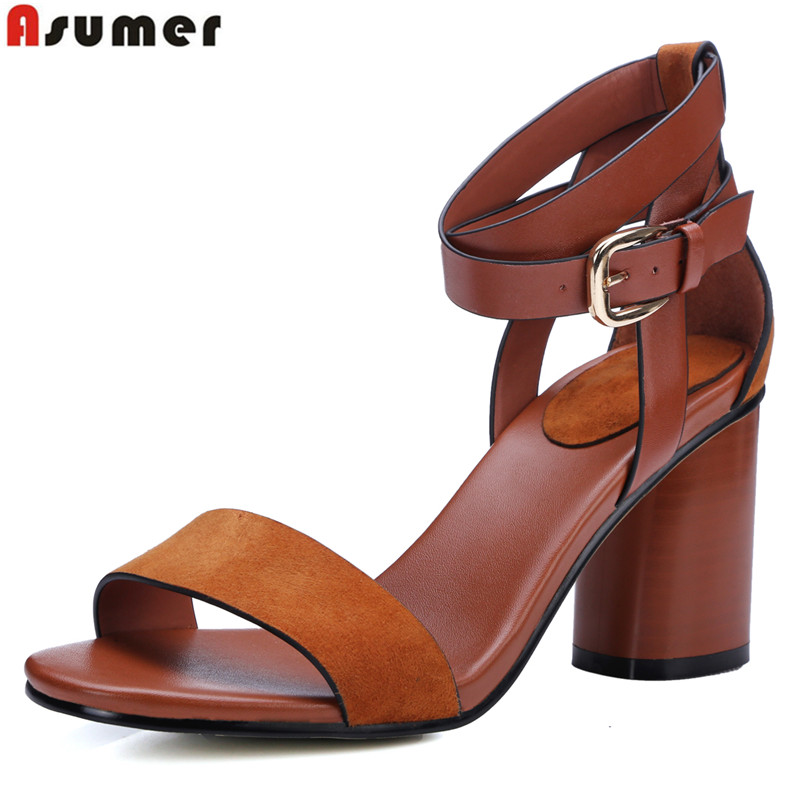 2016 new fashion gladiator sandals Microfiber + genuine leather women sandals thick high heels ankle strap summer party shoes