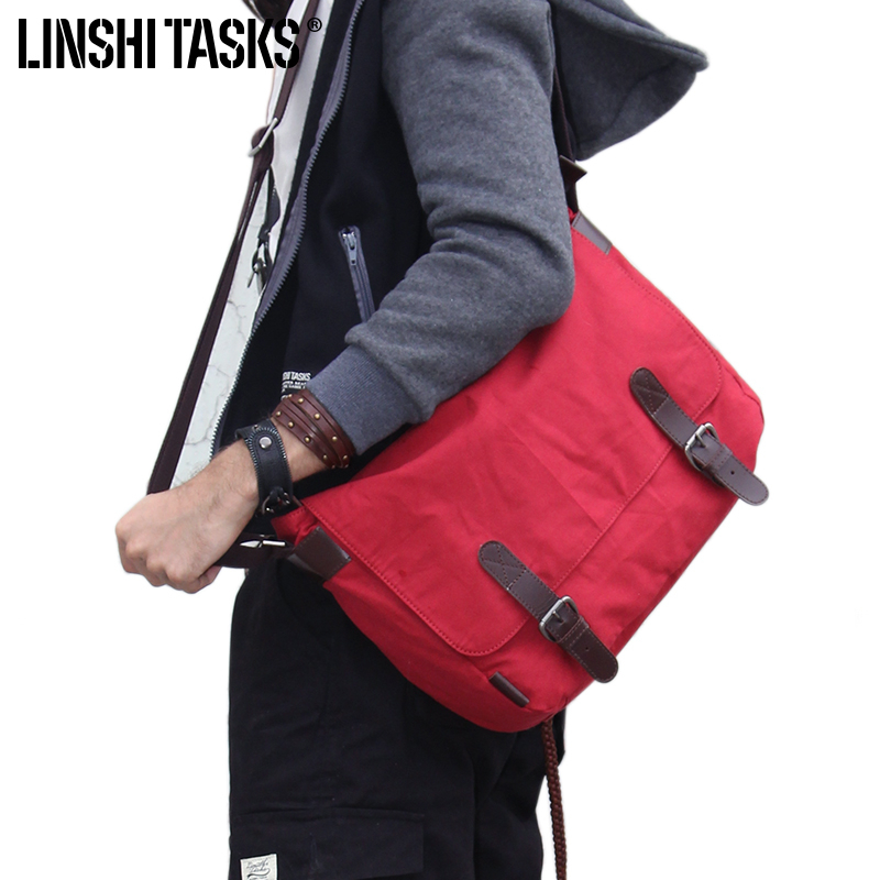 Solid Red Black Brown Canvas Courier Shoulder Messenger School Colleague Bag Filson Style(China (Mainland))