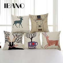 Buy Nordic Style Elk Cushion Cover Cotton Linen Decorative Pillowcase Chair Seat Square 45x45cm Pillow Cover Home Living Textile for $3.98 in AliExpress store