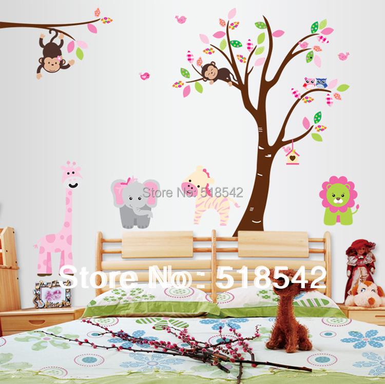 :Cute Monkey Elephant Lion Tree Wall Decals/Removable PVC stickers Mural Kids Nursery Room Decor 220*140cm - Homeby Co., Ltd store