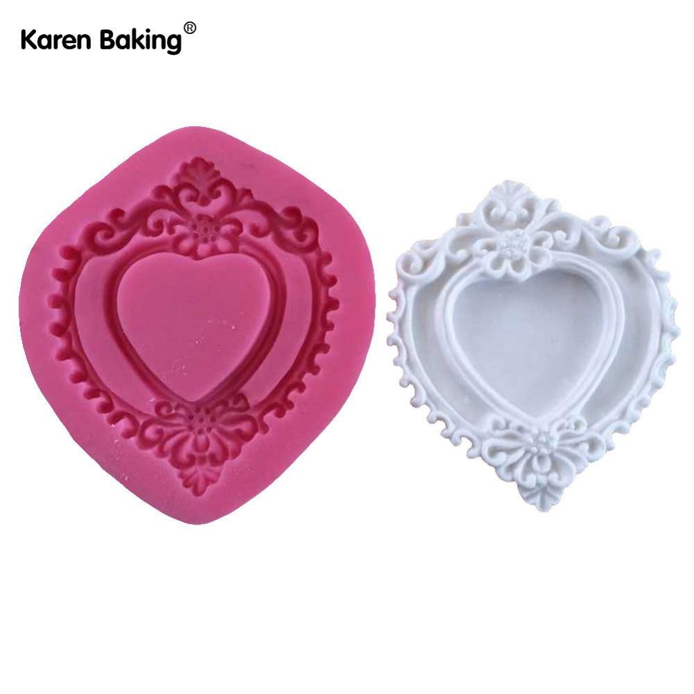 Heart-shaped Mirror Frame 3D Silicone Lace Fondant Cake Mold Chocolate Mold Cake Decorating Tools -C598(China (Mainland))