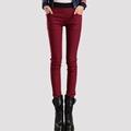 New Women pants 2016 Winter Candy Colors Plus Thick Velvet Pants Pocket Pencil Pants For Women
