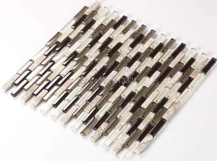 crystal glass tile strip pattern stone blend wall mosaic tile kitchen backsplash wholesale HCHMA001 shower design sheets(China (Mainland))