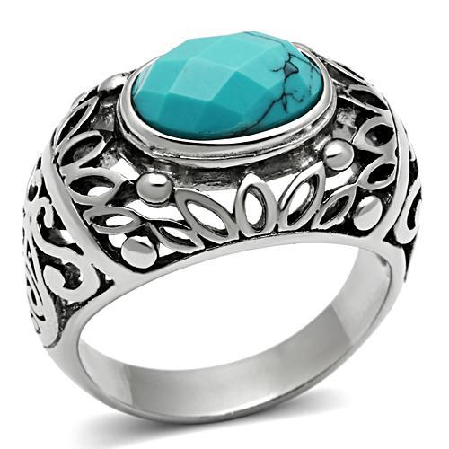 Fashion Secret Stainless Steel Synthetic Turquoise Men Fashion Cocktail Rings Lead & Nickel Free High Polishing No Coating(China (Mainland))