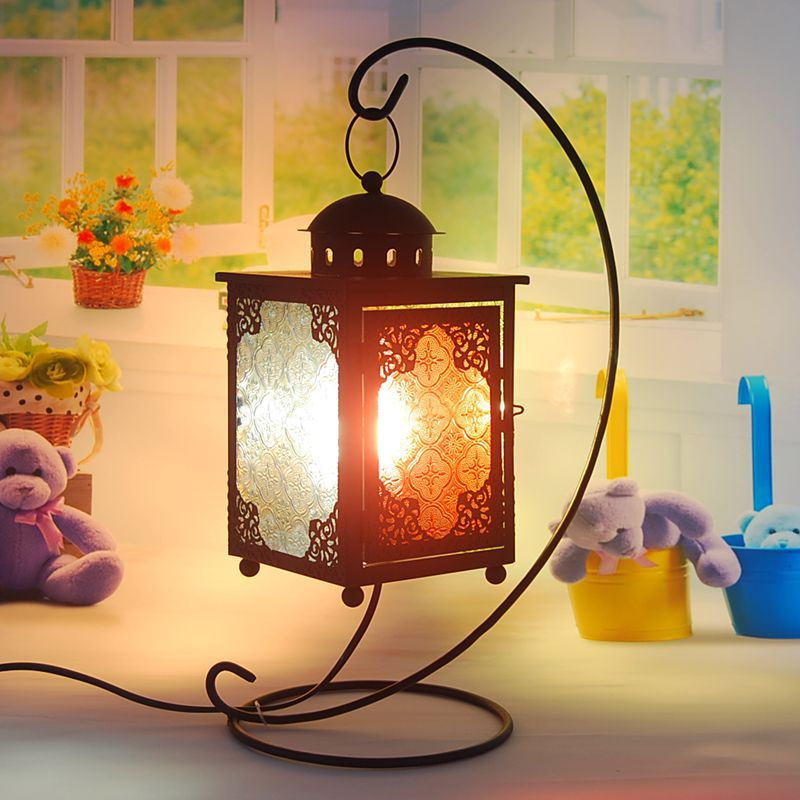 Moroccan lantern creative living room bedroom bedside lamp stained glass , wrought iron European retro home decoration lights(China (Mainland))