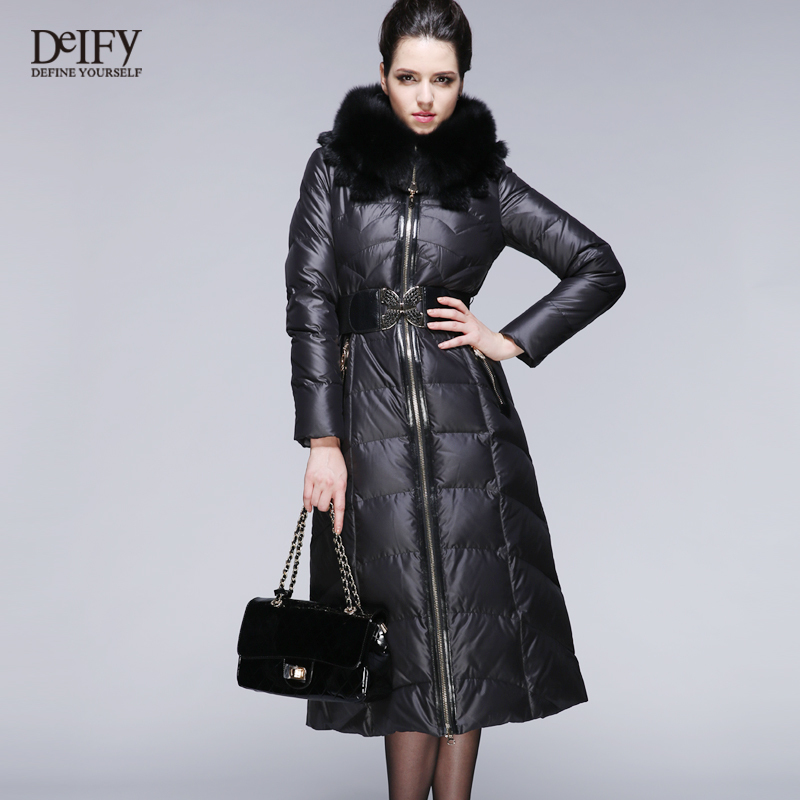 Luxury Winter Coat Women Fox Fur Hood Collar Thickening Long-Sleeve X-Long Brand Duck Jackets Parkas Ultra Long Black - Be 2 Boutique store