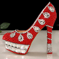 Newest Red crystal beaded rhinestone high heel female lady s Women Bridal Evening shoe Prom Party