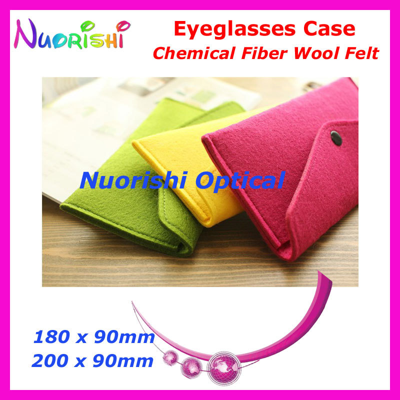 20pcs 5 Colors Wholesale Chemical Fiber Wool Felt With Push Button Glasses Eyeglass Sunglass Bag Case Pouch WF01 Free Shipping(China (Mainland))