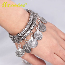 Best Deal New Diomedes Women Bracelet Hot Turkish Jewelry Bohemian Ethnic Vintage Silver Coin Bracelet Jewelry 1PC(China (Mainland))