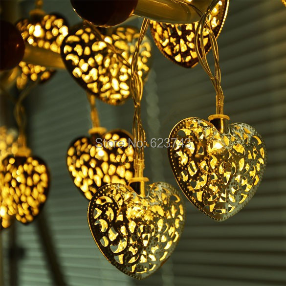 Free Ship 3 Meters 20 LEDs Silver Metal Hearts Pendant LED String Lights Christmas Party Wedding Decoration Indoor Fairy Lights <br><br>Aliexpress