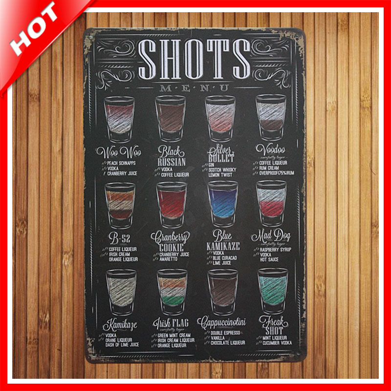 New Drink Menu Chic Home Bar Vintage Metal Signs Home Decor Vintage Tin  Signs Pub Vintage