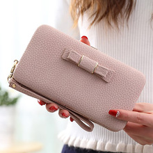 Long Wallet cute bow student lunch box purse large capacity mobile phone(China (Mainland))