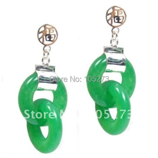 New Arrive Chirstmas Jewelry ! Charming 37X15MM Burmese Dark Green Jade 925 Silver Fortune Post Earrings Fashion Party Earrings<br><br>Aliexpress