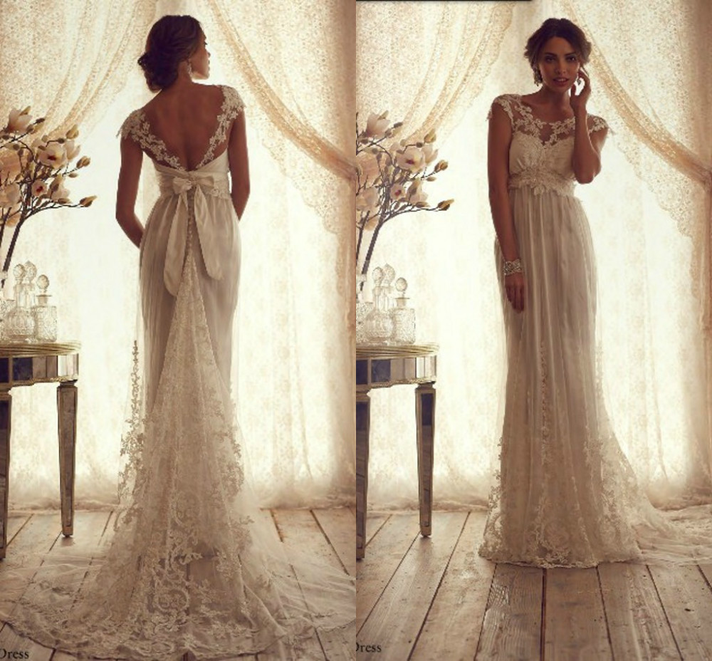 Ann12129 vintage high neck open back wedding dress lace for Vintage lace wedding dress open back