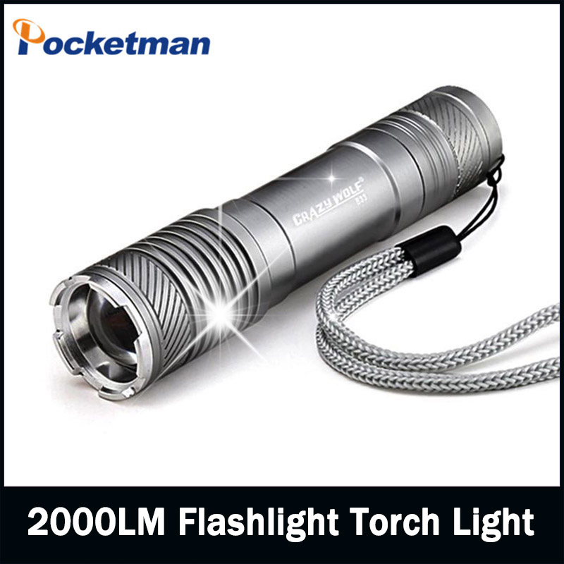 2016 new hot Led Torch 2000lm Cree LED Flashlight Torch light Waterproof For 1x18650 free shipping(China (Mainland))