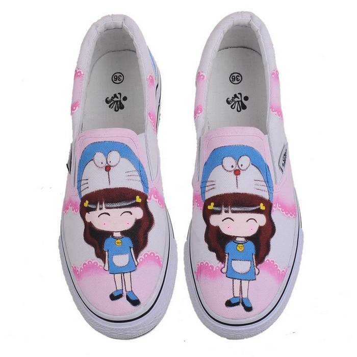 New arrival cartoon canvas shoes Couples hand painted shoe women men casual sneakers Sweet hand-drawn design shoes W-D026(China (Mainland))