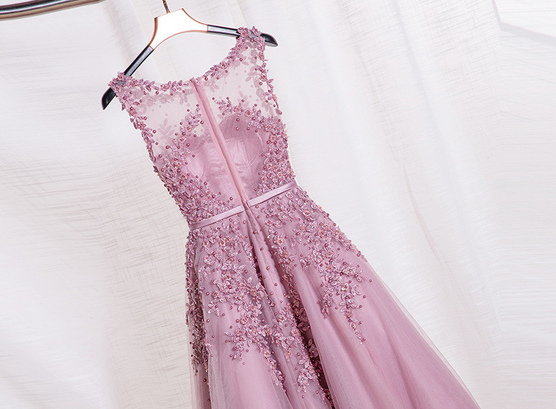 Robe-De-Soiree-2016-New-Sweet-Pink-Lace-Beading-Long-Evening-Dress-Bridal-Scoop-Sleeveless-Transparent (1)
