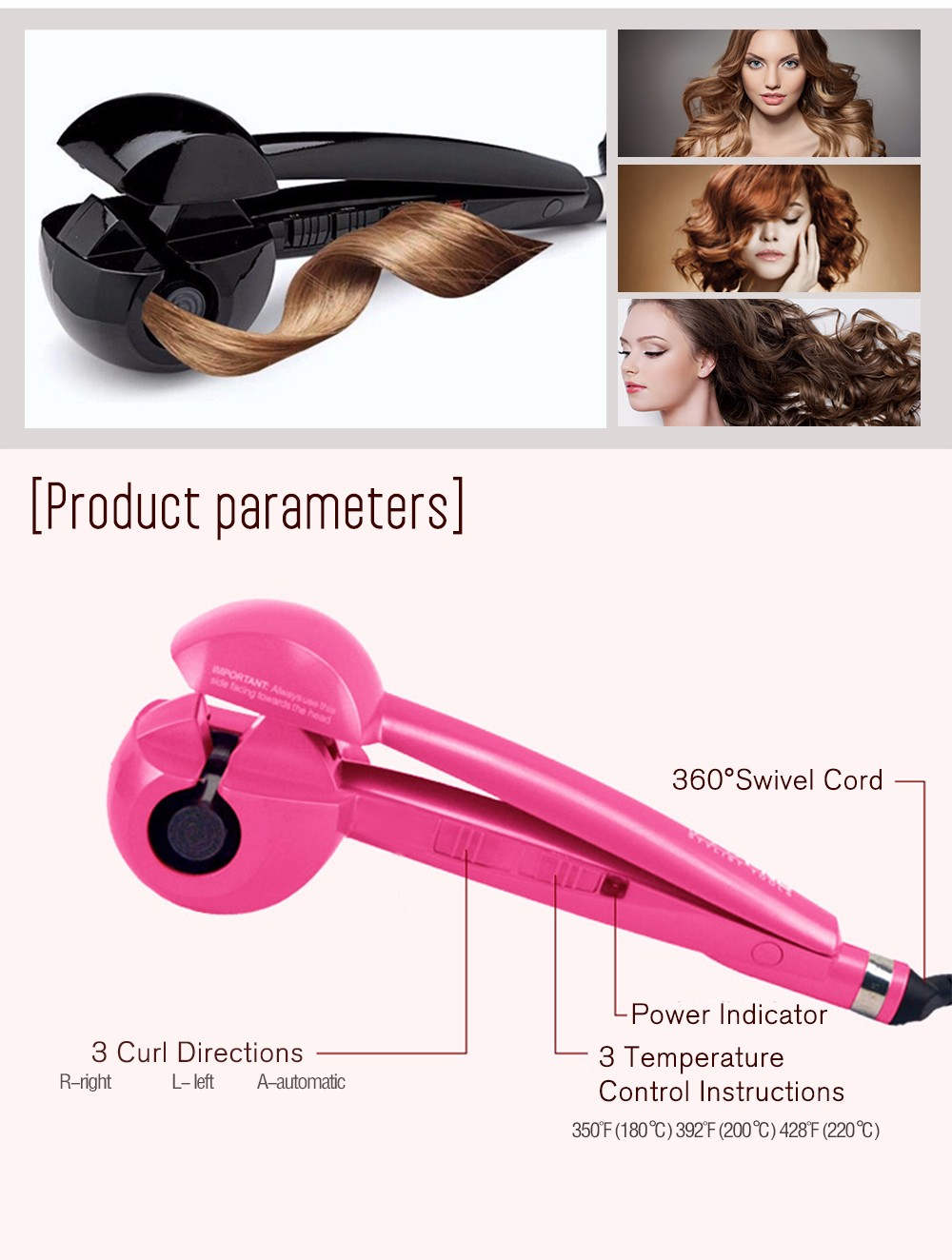 Curly Hair Styling Portable Electric Automatic  Hair Styling Tools Thermostatic Wavy Pear Flower Tourmaline ceramic  013