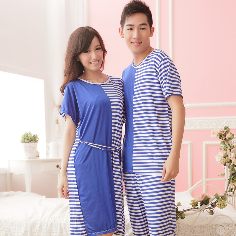 lovers pajamas personality stripe mosaic bamboo fiber short sleeved pajamas for men and women wholesale factory outlets(China (Mainland))