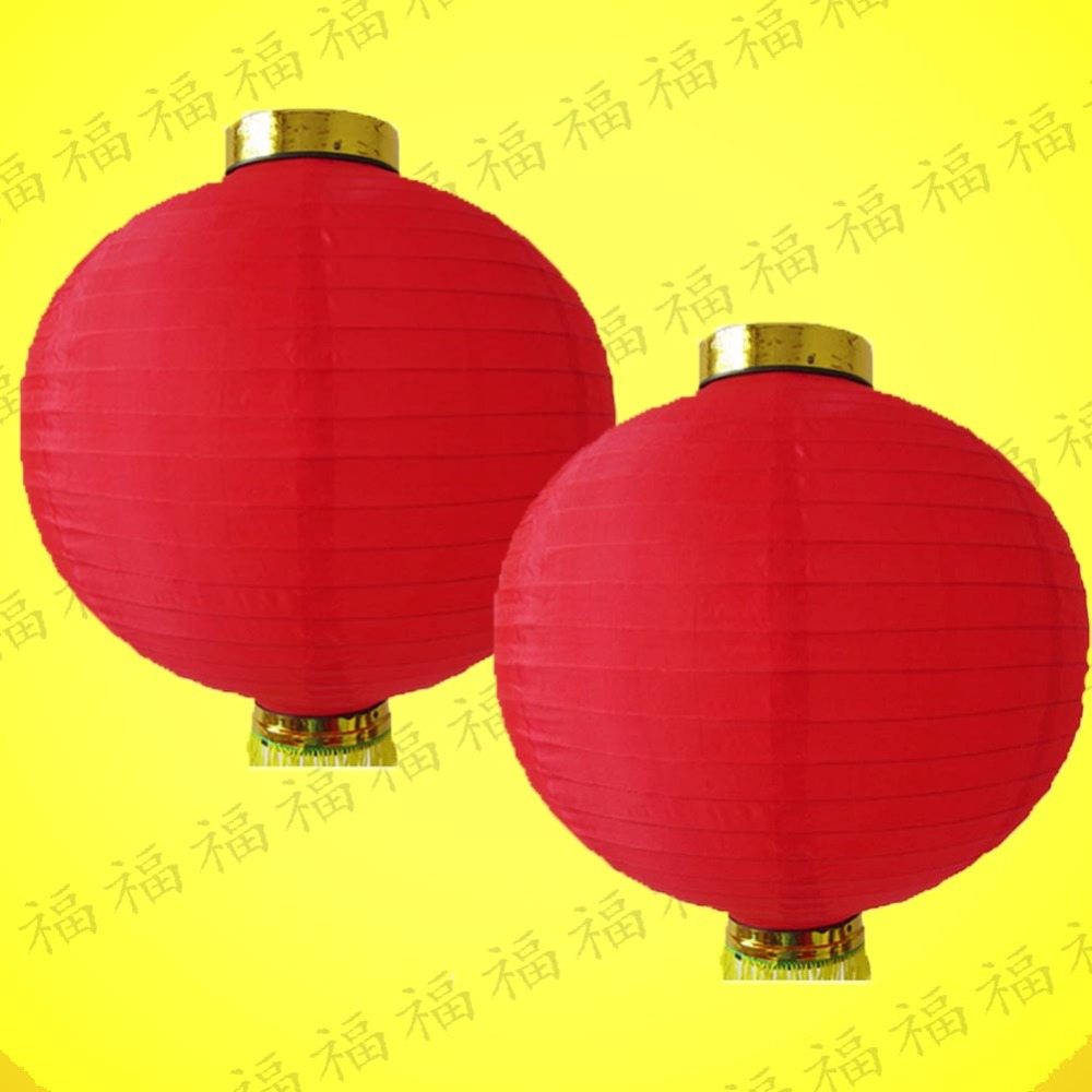 2Pcs/lot Diameter 20cm Round Red Silk Lanterns Wedding Birthday Event Party Decorations Supply Lamp Chinese New Year Lantern(China (Mainland))