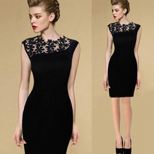 Buy 2017 Sexy Vestidos Summer Large Size Dress Black Stretch Evening Party Lace Slim Bodycon Pencil Vestidos Crochet Elegant Dress for $4.63 in AliExpress store