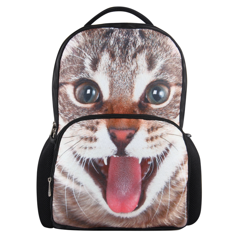 VN 2015 cat bags printing backpack new school backpack fashion 3D animal bag brand school bags for girls boys backpacks book bag(China (Mainland))