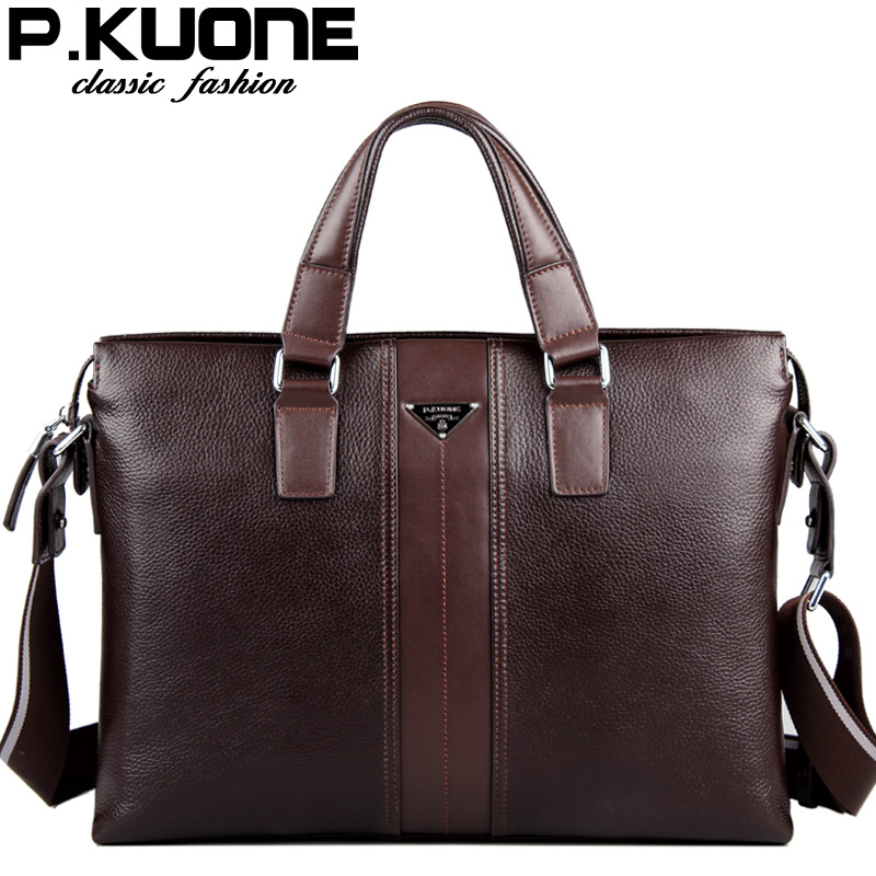 100% Cowhide men's business briefcase / Genuine leather man vintage cross-body one shoulder computer bag / Luxury leather bag(China (Mainland))