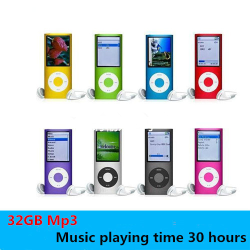 Hot Music playing time 30Hours Slim 1.8' 4th gen mp3 player 32GB music player fm radio ebook video player free shipping(China (Mainland))