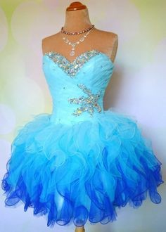 Blue Cocktail Dress Sweetheart Party Ball Gown Shoulder Short Homecoming Organza Ruffles - Weddings & Events Collection store