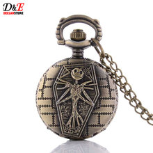 Vintage Tim Burtons Movie Theme Pendant The Nightmare Before Christmas Pocket Watch Quartz Watch Skull Charm Accessory Gift P998