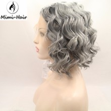 Rihana hair Synthetic lace front Wigs Short Hair curly silver/red Wigs for Africans Black Women Perruque Natural
