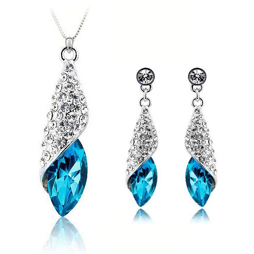 (20 sets/lot) 2015 NEW Fashion Jewelry Sets Women Blue Conch Necklace+Earring - Victorian jewelry 's store