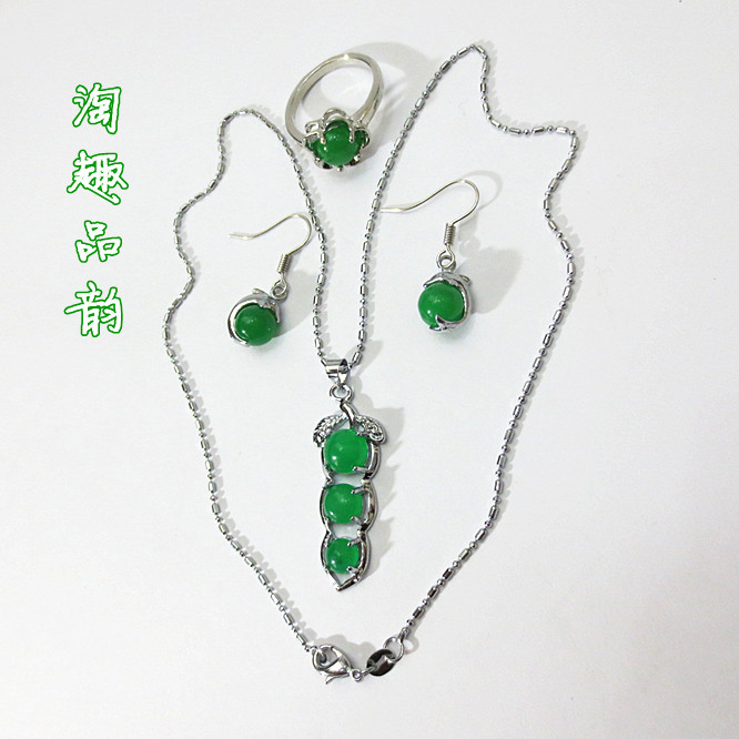 Malay jade emerald dolphin beads drop earring necklace fruit pendant ring fashion accessories set - Beautiful manufacturing store