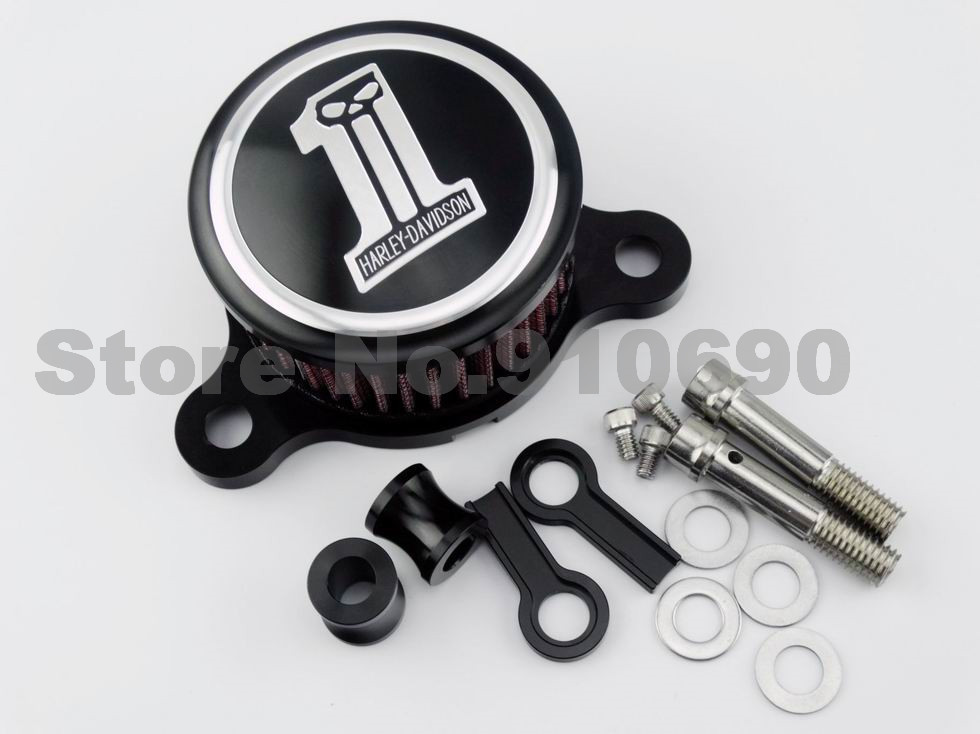 Motorcycle Black Skull  #1 CNC Aluminum Air Cleaner Intake Filter System For Harley Sportster XL883 XL1200 1988-2015 2014 2013<br><br>Aliexpress