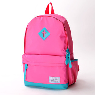 female bags candy neon color double-shoulder canvas school bag color block multifunctional backpack(China (Mainland))