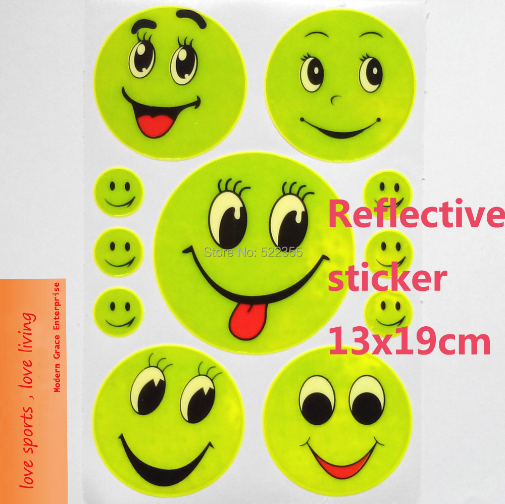 1 Sheet, 19x13CM Reflective safety sticker smile face for motorcycle,bicycle,kids toy,any where for visible safety(China (Mainland))