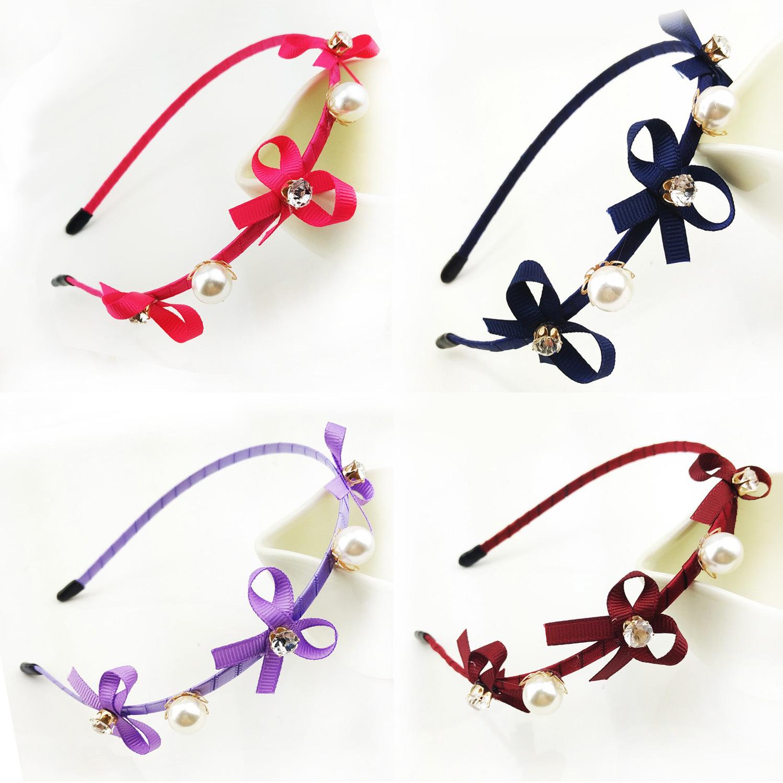 Wholesale/retail Korea Edition Sweet Bowknot Fine Hair Hoop Satin Headband Hairpin Head Ornaments Accessories 7 Color Sep 25(China (Mainland))