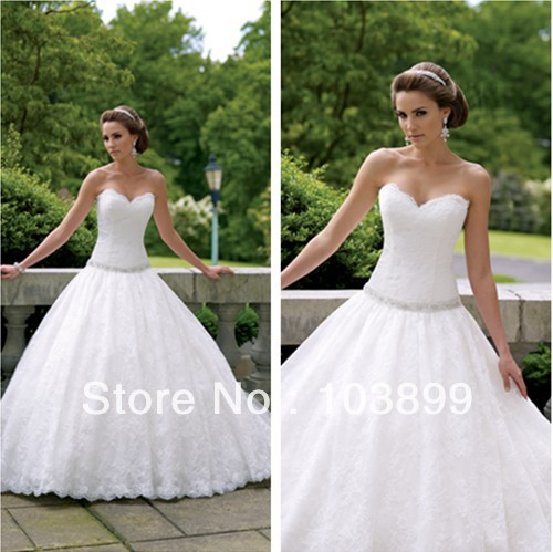 Wedding Dresses Lace Full Skirt : Distinctive designsweetheart neckline puffy lace skirt