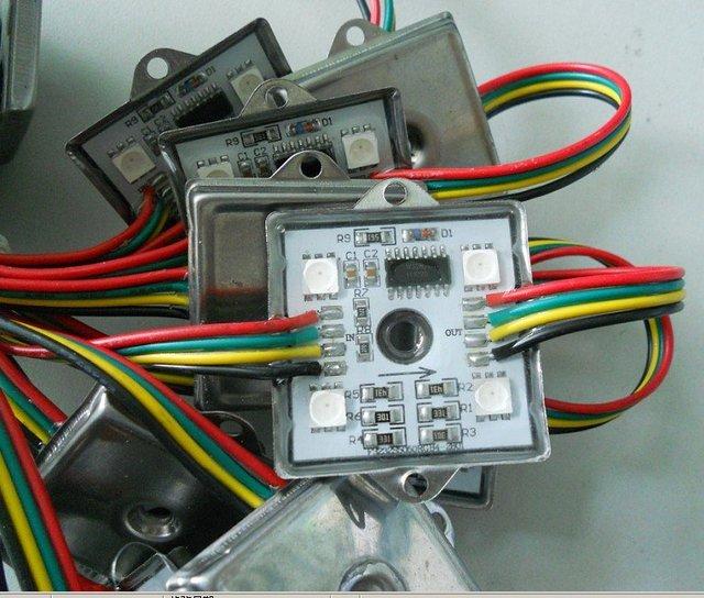 20pcs/string waterproof led pixel module,4pcs SMD RGB 5050,1pcs WS2801,256 gray level,DC12V,0.96W