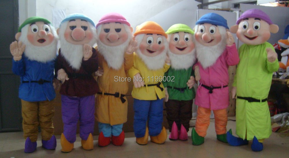 High Quality of The Seven Dwarfs Mascot Costume Christmas Cartoon Character Costumes Free Shipping(China (Mainland))