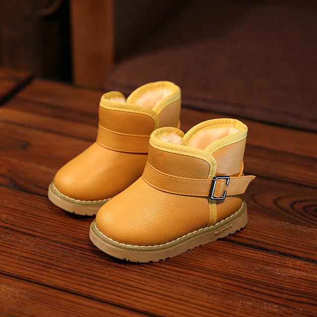 2016 Новая Зимняя для ребенок малыш девочка мальчик снег сапоги комфорт толщиной противоскользящие короткие сапоги резинка кожа хлопка мягкая обувь