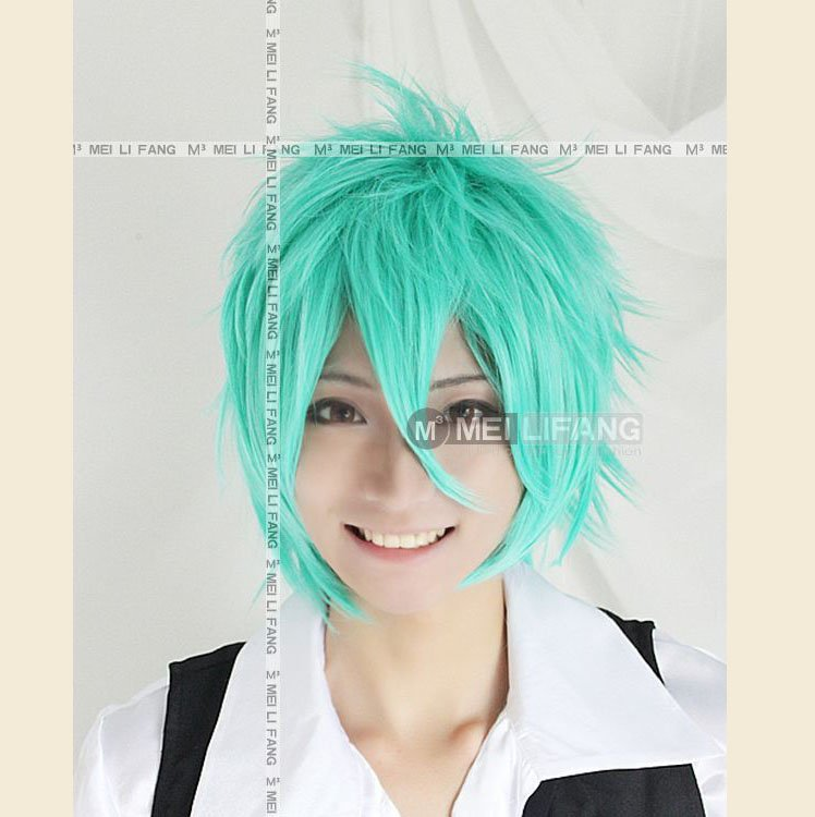 ,Green Short Shaggy Layered Anime Cosplay Hair Wig,Have stcok,Free ...: www.aliexpress.com/item/MIKUO-Green-Short-Shaggy-Layered-Anime...