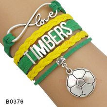 (10 Pieces/Lot)Infinity Love Major League Soccer Portland Timbers Soccer Wrap Bracelet Best Gift Custom Any Themes Drop Shipping(China (Mainland))