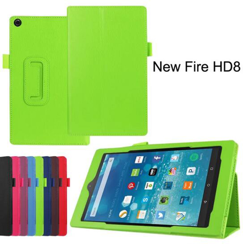 """For Amazon Kindle Fire HD 8 HD8 2015 8"""" Tablet 10pcs/lot Luxury Folio Stand Protective Cover Litchi Grain Leather Case Cover(China (Mainland))"""