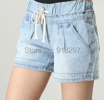 summer spring women shorts denim elastic waist plus size button thin capris casual pleated lyy0504 - Online Store 918297 store
