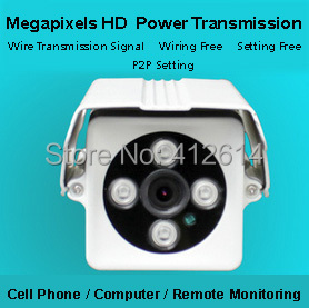 free shipping 1.3megapixel HD power line transmission bullet IP cameras/wiring free setting free remote control network cameras(China (Mainland))