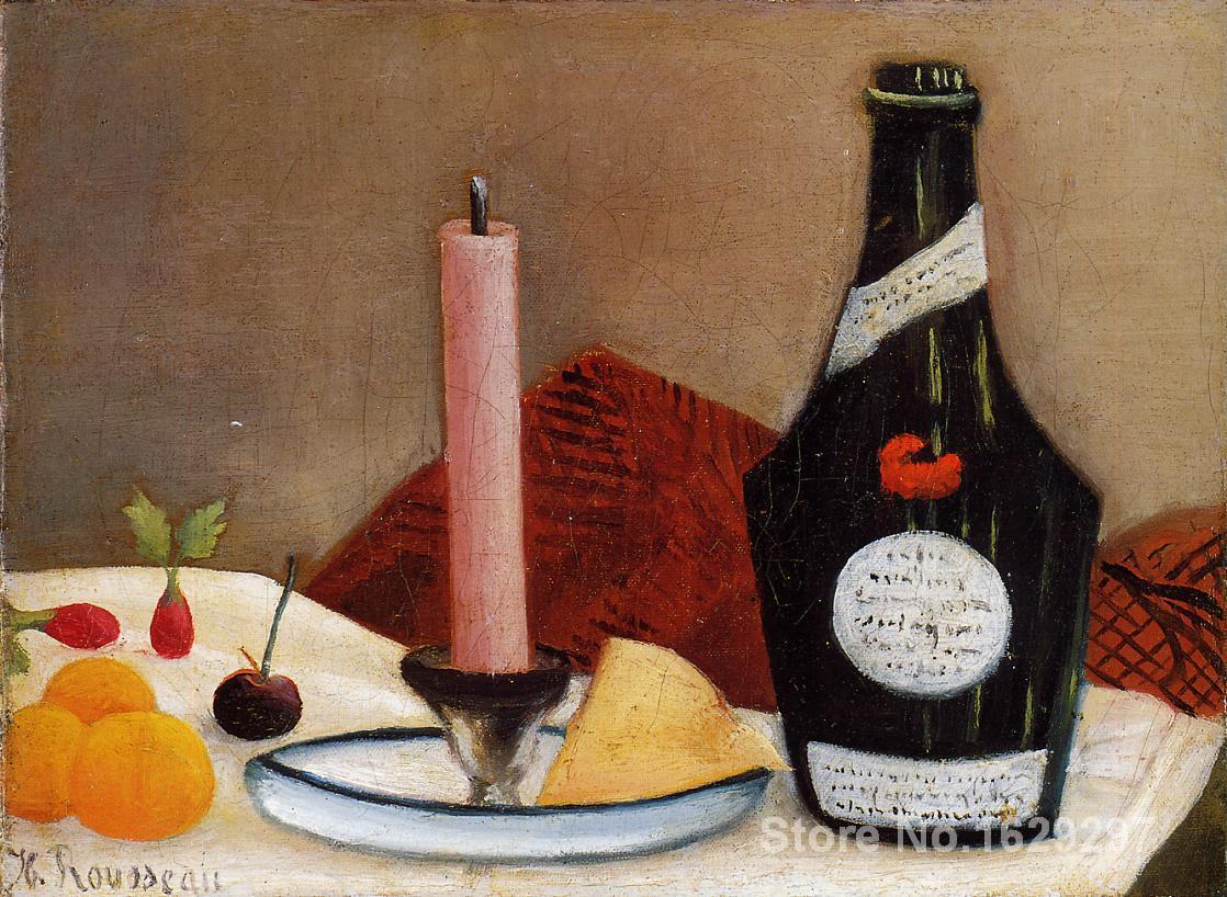 Paintings for living room wall The Pink Candle Henri Rousseau High quality Hand painted(China (Mainland))