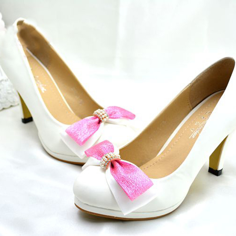 fashion white pearl wedding bridal dress shoes flower girl