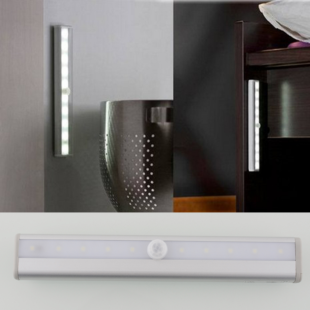 Intelligent Practical Cabinet Stairway PIR Efficient Motion Sensor 10 LED Strip Light Lamp Autoswitch(China (Mainland))